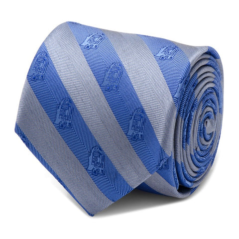 Star Wars R2-D2 Blue and Grey Stripe Silk Tie