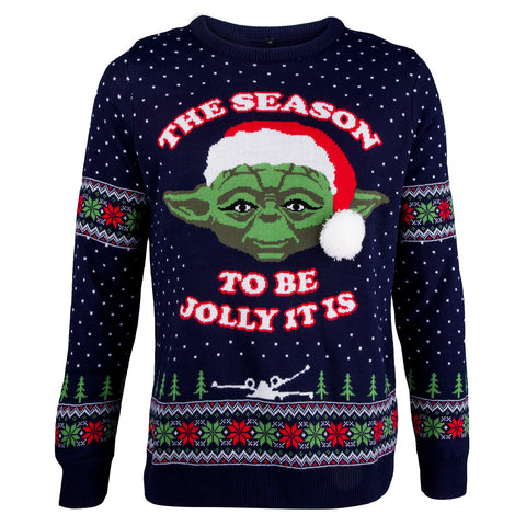 Star Wars Yoda Knitted Christmas Jumper-Large