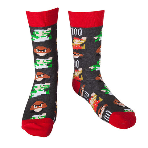 Super Mario 8-Bit Pixel Socks