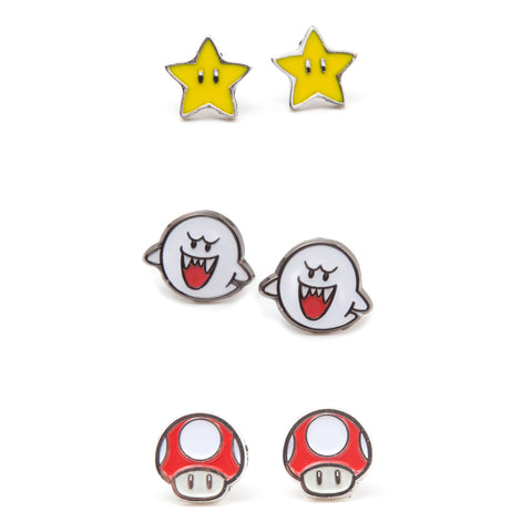 Super Mario Stud Earrings (3 Pairs) - Super Star, Boo, Super Mushroom
