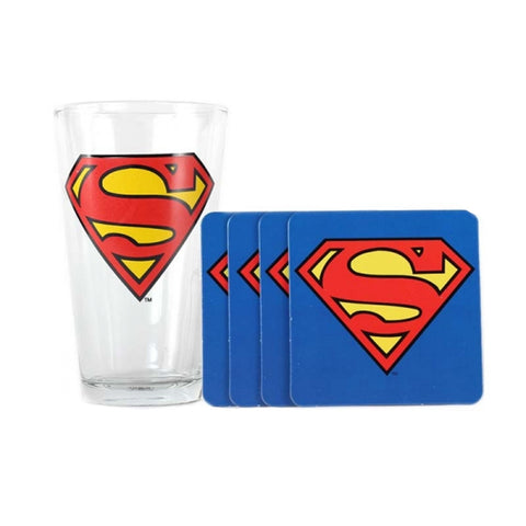 DC Comics Superman Glass & Coaster Set
