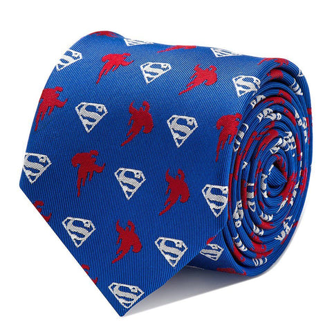 Superman Logo and Silhouette Blue and Red Silk Tie
