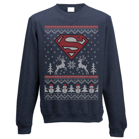 Superman Reindeer Christmas Jumper-Small