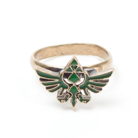 The Legend of Zelda Gold Ring with Green Triforce Logo