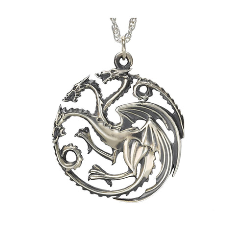 Game of Thrones House Targaryen Sterling Silver Dragon Sigil Pendant