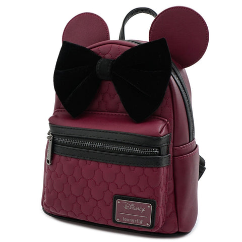Loungefly X Disney Minnie Mouse Maroon Quilted Mini Backpack