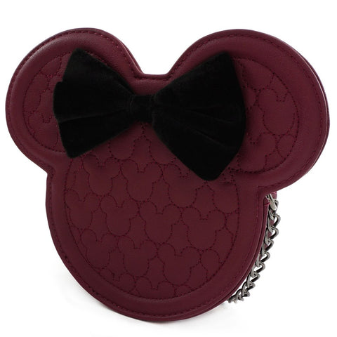 Loungefly X Disney Minnie Mouse Maroon Quilted Silhouette Crossbody Bag