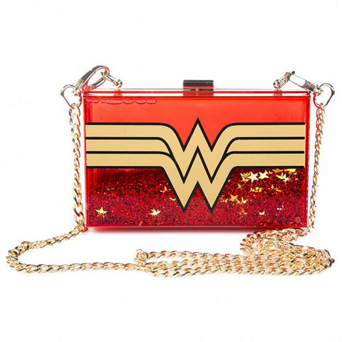 Wonder Woman Glitter Perspex Clutch Bag