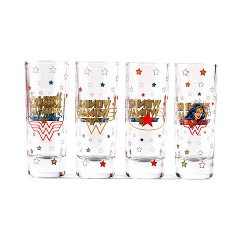 DC Comics Wonder Woman Set of 4 Mini Glasses