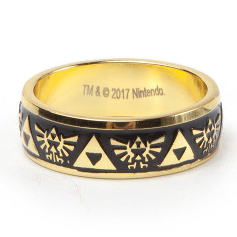 The Legend of Zelda Black and Gold Triforce Ring