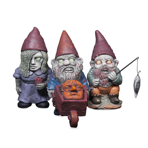 Mini Zombie Garden Gnome Set