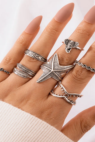 Boho 7-piece Ring Set