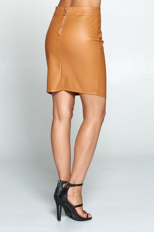 Faux Leather Coated Skirt