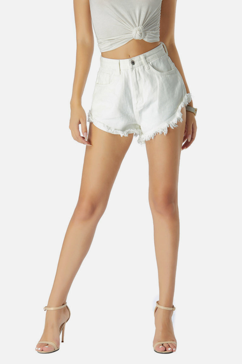 Angled Cut Denim Shorts