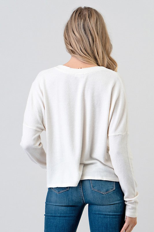 Drop Shoulder Button Down Top