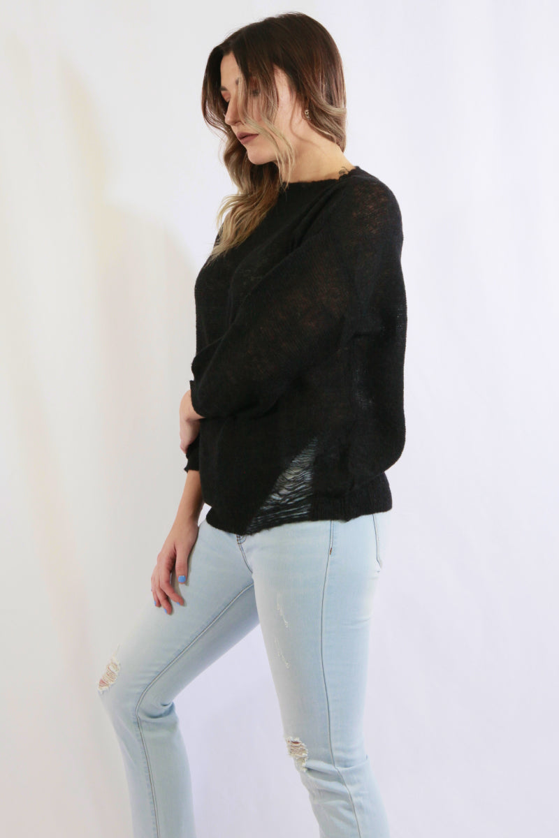 Distressed Knit Top