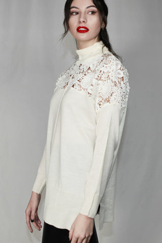 FRENCH CONNECTION Lace Knit High Neck Jumper