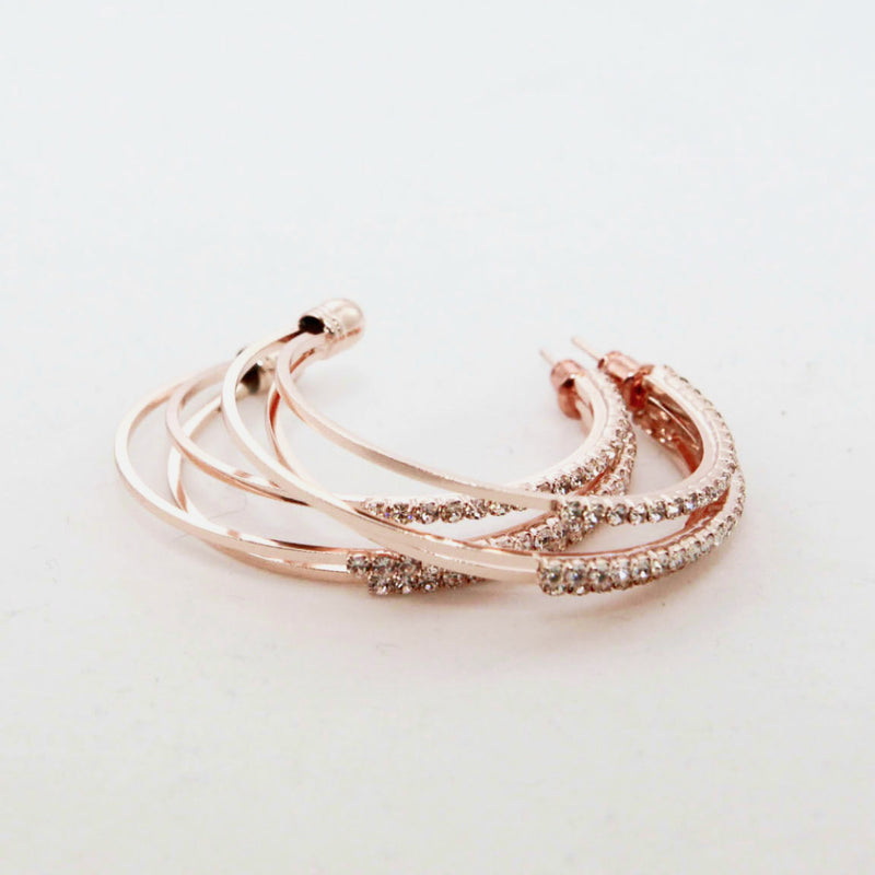 Stacked C Shaped Hoop Earrings
