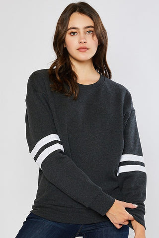 Fleece Stripe Sleeve Sweatshirt