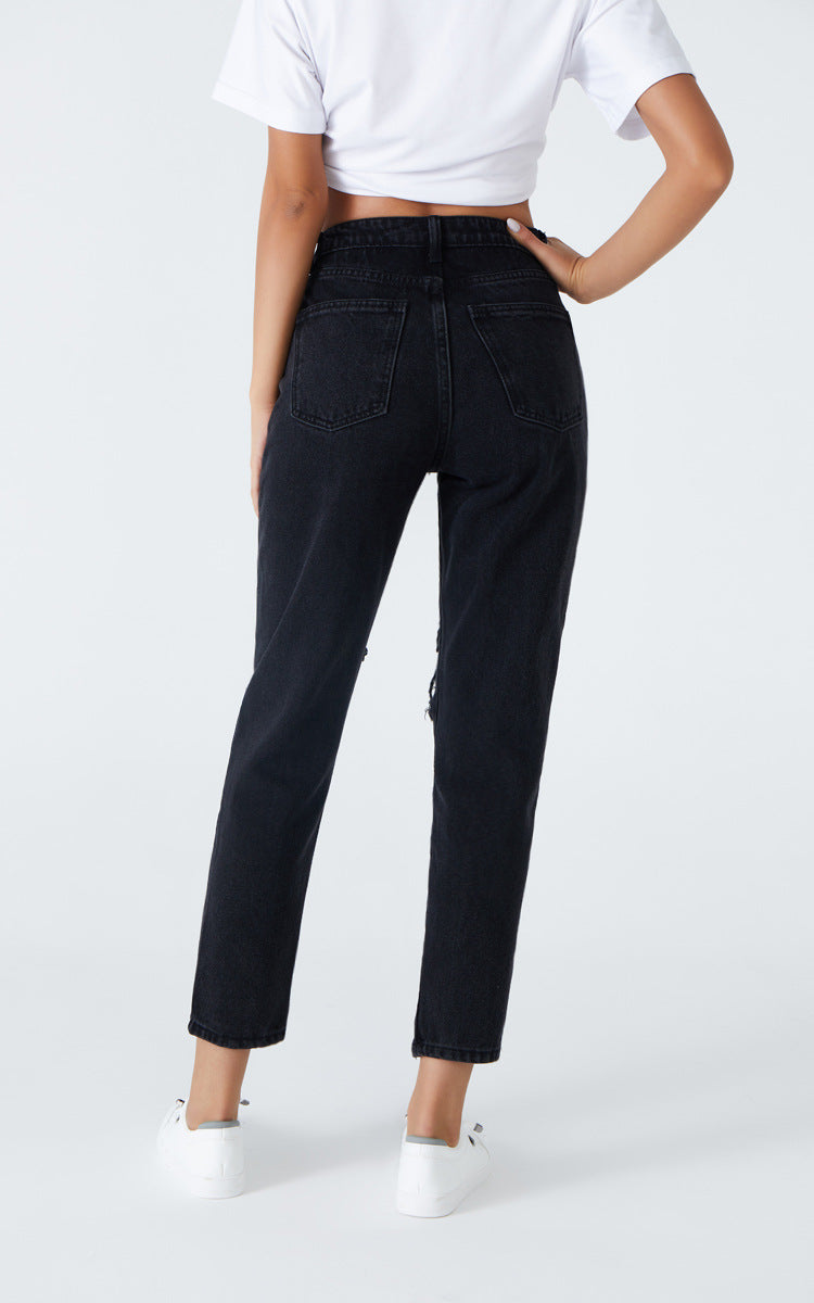 Distressed Ankle Mom Jeans