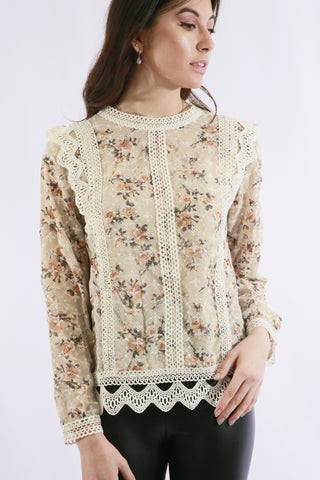 Chiffon Lace Detailed Shirt