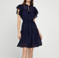 BCBGMAXAZRIA Eyelet Ruffle Mini Dress