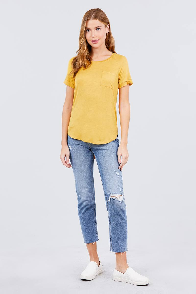 Short Sleeve Round Neck W/pocket Rayon Top