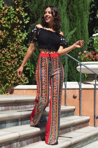High Waist Colorful Sequins Pattern Pants
