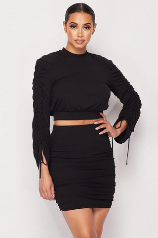 Body Sculpting Ruched Long Sleeve Black Skirt Set