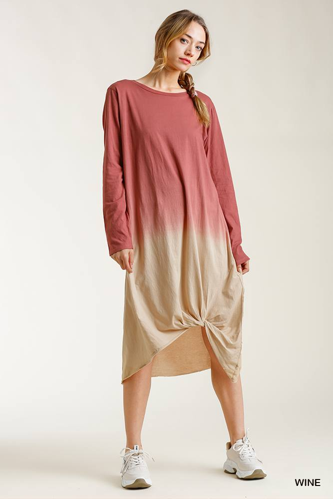 Ombre Front Knot Detail Long Sleeve Maxi Dress