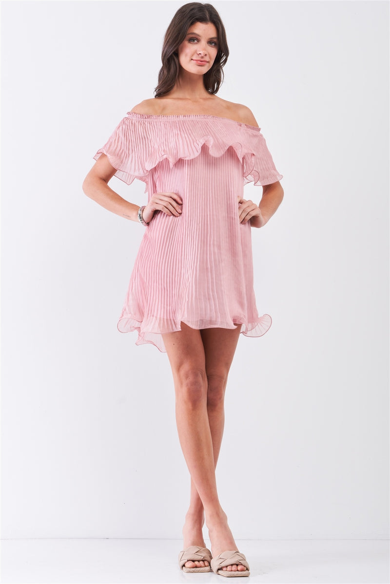 Pink Pleated Off-the-shoulder Mini Dress
