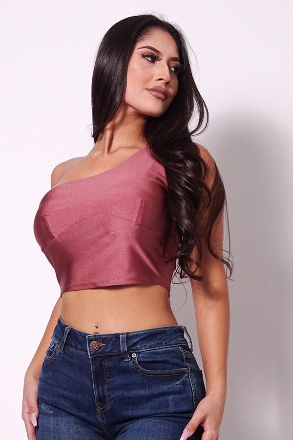 Sleeveless One Shoulder Bustier Crop Top