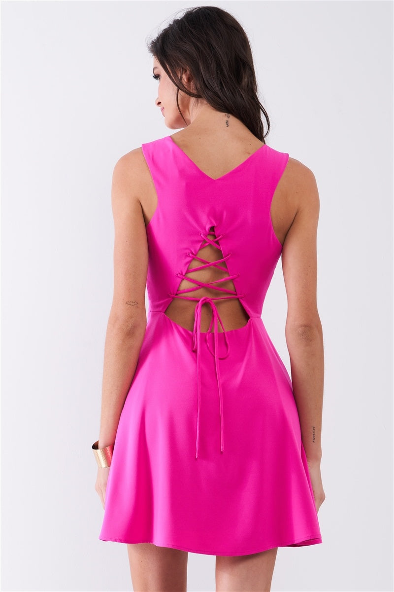 Sleeveless Self-tie Lace-up Back Mini Dress