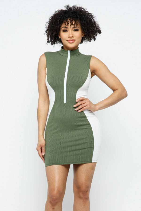 Color Blocked Zipper Details Mini Dress
