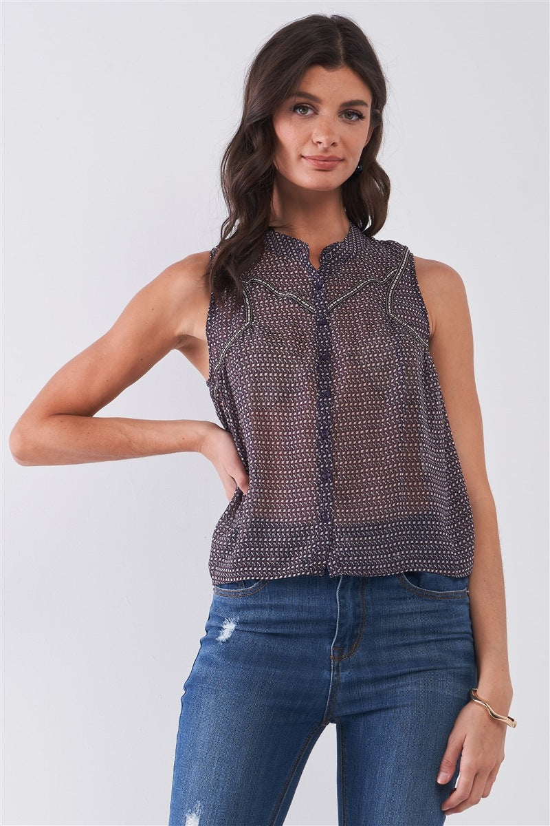 Sleeveless Mock Neck Front Button Down Sheer Blouse