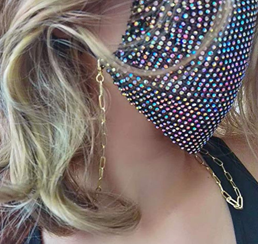 Paper clip gold chain for mask