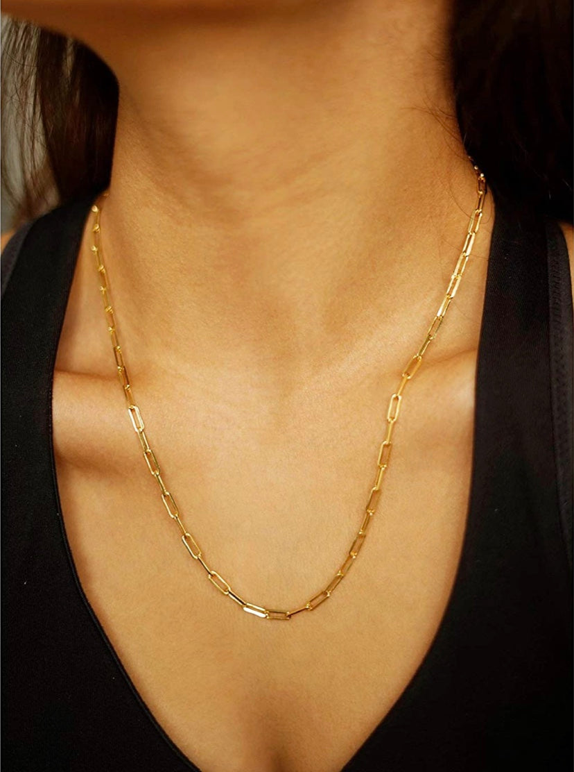 14k gold plated paper clip necklace 24""