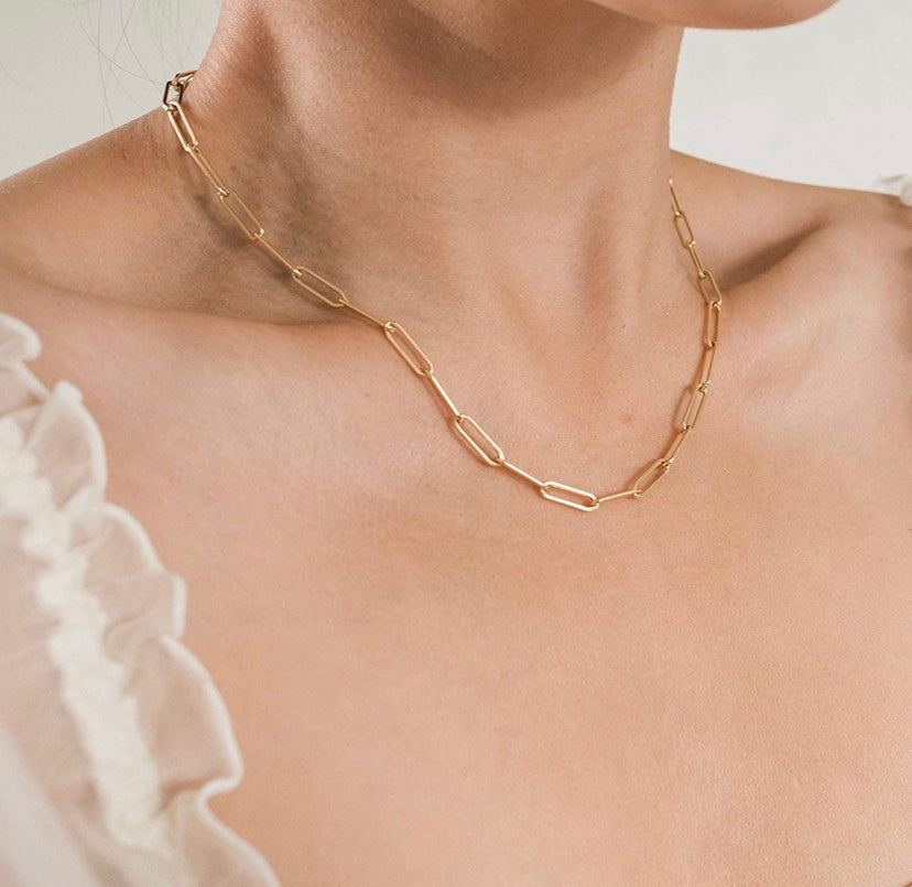 14k gold plated paper clip necklace 17""