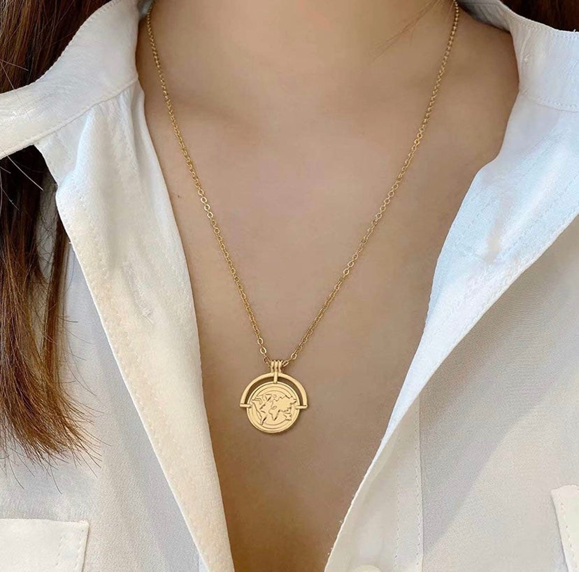 14k gold plated world map coin necklace