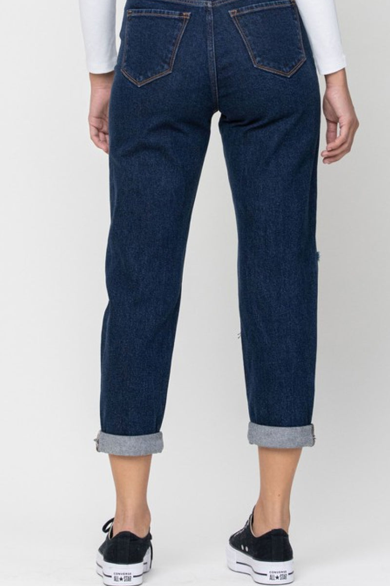 Dark Knee Cut Mom Jeans