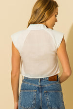 Shoulder Pad Button Crop Top