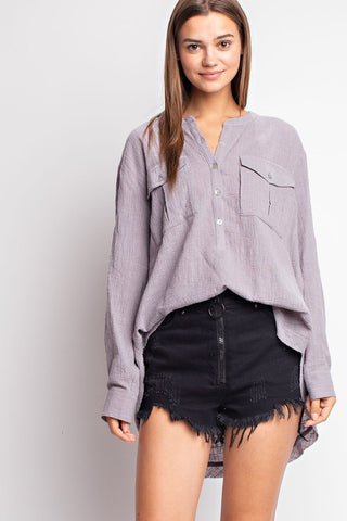 Woven Button Down Closure with Cuff Sleeve Shirt