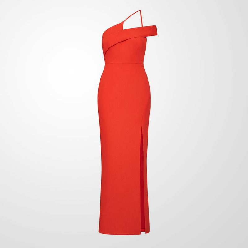 BCBGMAXAZRIA Off-Shoulder Slit Gown