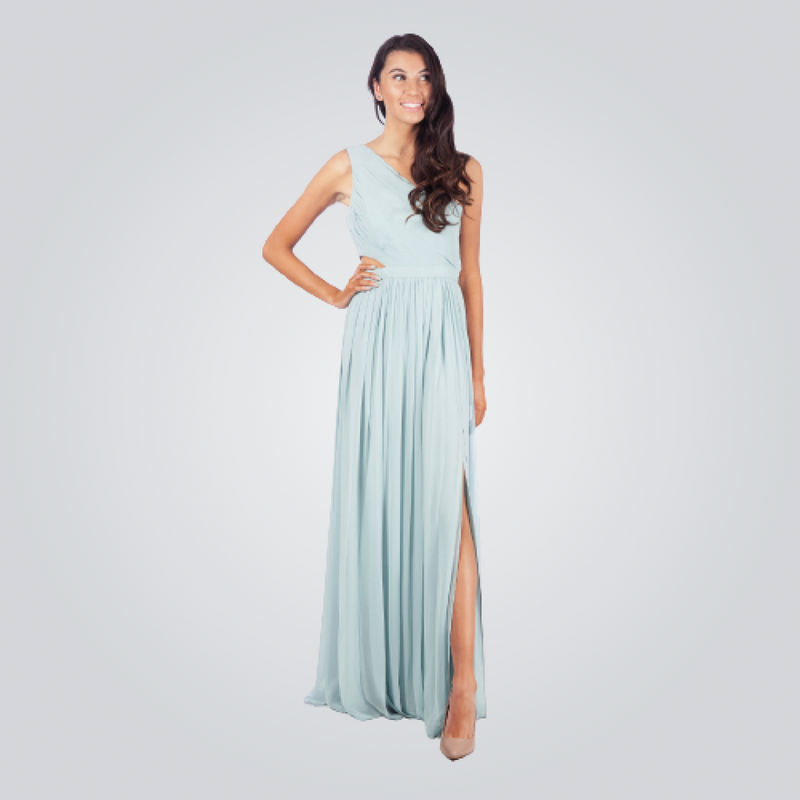 BCBGMAXAZRIA Slanting Shoulder Long Dress