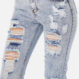 Distressed Ankle Slim Jeans