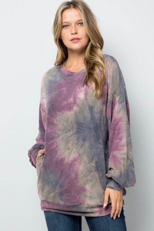 Tie Dye Long Sleeve Round Neck Top