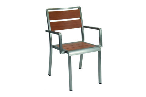 Emu Americas 1120-06-401 EMU AMERICAS-SID-ARM CHAIR - OAK / BRUSHED ALUMINUM