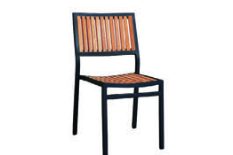 Eon GLI-AURA-CH-MARATK-001 EON-MARITZ-SIDE CHAIR - ANTHRACITE FRAME  / EON TEAK WOOD SEAT AND BACK