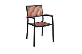 Eon GLI-AURA-CH-MARATK-004 EON-MARITZ ARM CHAIR-SIDE CHAIR - ANTHRACITE FRAME  / EON TEAK WOOD SEAT AND BAC