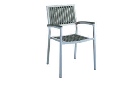 Eon GLI-AURA-CH-MARSGR-004 EON-MARITZ ARM CHAIR-SIDE CHAIR - SILVER FRAME  / EON GREY WOOD SEAT AND BACK